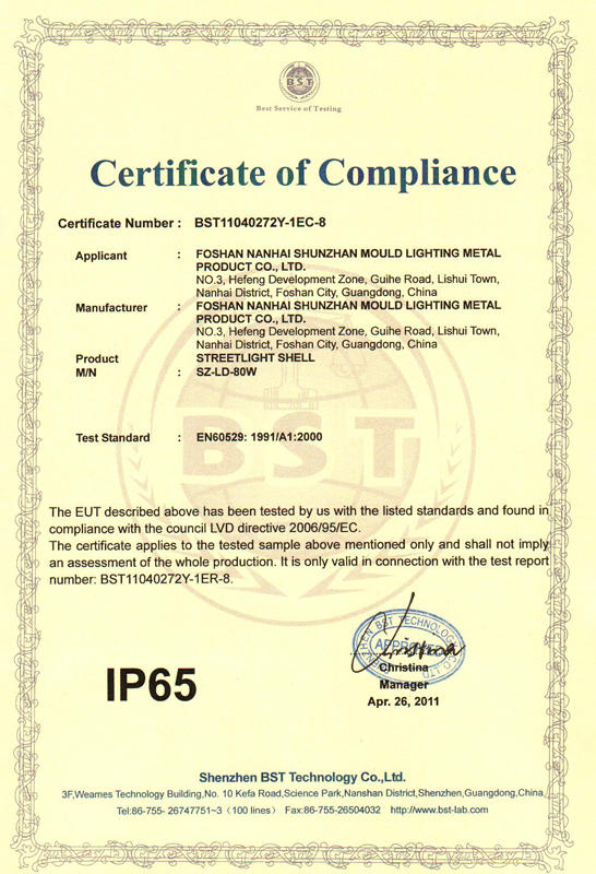 IP65-certificate